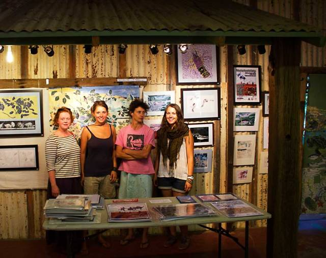 Jill, myself, Jeanné and Juliana at the art gallery based on the Lurujarri Heritage Trail.  © Copyright Alexis Smith 2012 All Rights Reserved