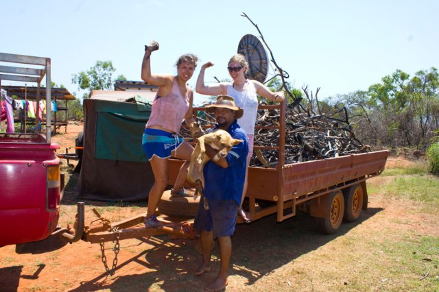 After 9 weeks of bush life, we quite the experts of living off the land. Collecting fire wood in the snake and spider-ridden bush in 40degree heat is not a problem.  © Copyright Alexis Smith 2012 All Rights Reserved.